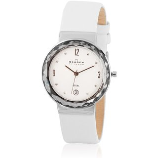 Skagen Women's SKW2003 Stainles Steel White Leather Watch