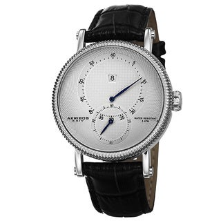 Akribos XXIV Men's Automatic Etched Pattern Dial Genuine Leather Strap Watch