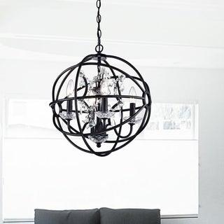 Benita Antique Bronze Metal Strap Globe Crystal Chandelier