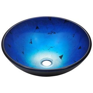 Polaris Sinks Dark Blue Foil Undertone Glass Vessel Sink