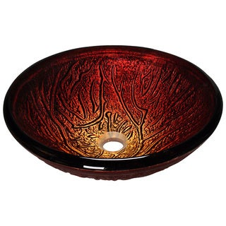 Polaris Sinks Red Lava Hand-painted Glass Vessel Sink