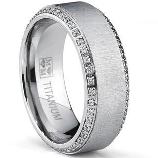 Oliveti Brushed Titanium Men's Round-cut Cubic Zirconia Comfort Fit Wedding Band (8 mm)