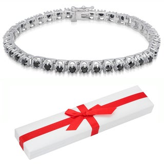 Finesque Sterling Silver 3 4/5ct TDW Black Diamond Tennis Bracelet (I2-I3) with Red Bow Gift Box