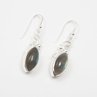 Sitara Sterling Silver Marquise-cut Labradorite Dangle Earrings (India)