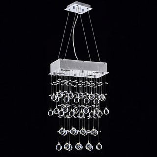 Falling Rain Rectangular 4-light Chrome and Crystal Chandelier