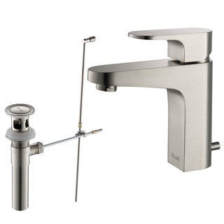 Rivuss Aragon Lead-free Solid Brass Brushed Nickel Finished Single-lever Bathroom Faucet and Pull-out Drain