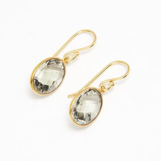 Sitara Goldplated Green Amethyst Oval-cut Dangle Earrings (India)