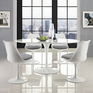 """Lippa Wood Top 60"""" Oval-shaped White Dining Table"""