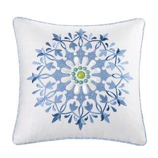 Echo Design Sardinia Cotton Square Embroidered 18-inch Pillow
