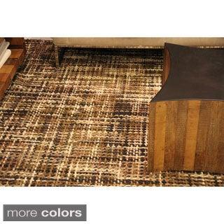 ARTAJUL Handmade Brown Basket Weave Brown Designer Plush Felt Wool Area Rug (3' x 5')