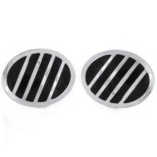 Silvertone and Black Enamel Striped Oval Cuff Links