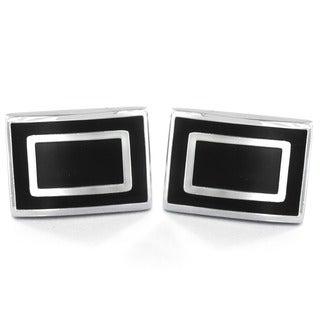 Silvertone and Black Enamel Rectangle Cuff Links