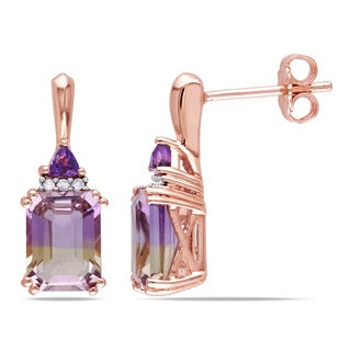 Miadora Rose Plated Silver 3 1/4ct TGW Ametrine, Amethyst and Diamond Earrings