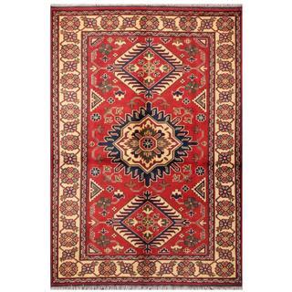 Herat Oriental Afghan Hand-knotted Tribal Kargahi Red/ Navy Wool Rug (4'1 x 5'11)