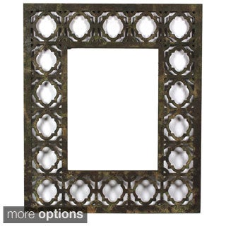 Distressed Wooden Filigree Framed Wall Mirror (China)