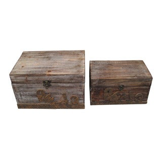 Set of 2 Rustic Distressed Decorative Wooden Boxes (China)
