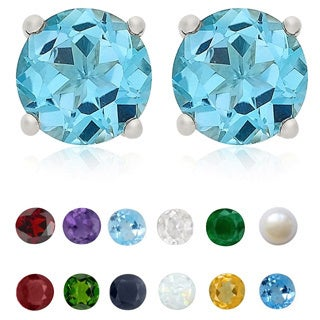 Dolce Giavonna Sterling Silver Gemstone 6mm Birthstone Stud Earrings