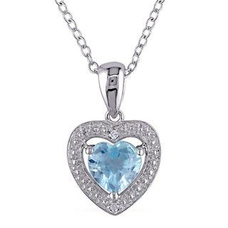 M by Miadora Sterling Silver 1ct TGW Blue Topaz and Diamond Accent Heart Necklace