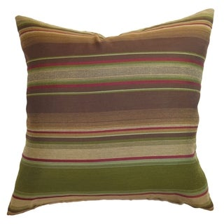 Neville Brown/Olive Stripes Feather and Down Filled 18-inch Throw Pillow
