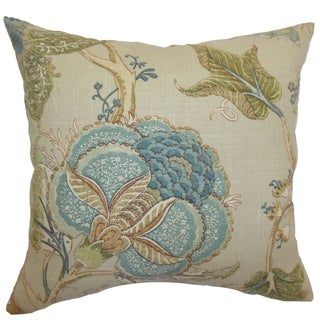 Ymanya Seacoast Floral Feather and Down Filled 18-inchThrow Pillow