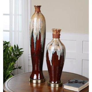 Uttermost Aegis 2-piece Glazed Ceramic Vase Set