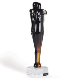 Couple Embracing 14-inch Glass Sculpture