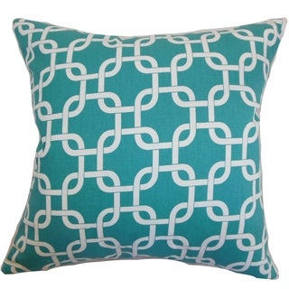 Qishn Geometric Turquoise Feather Filled 18-inch Throw Pillow