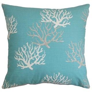 Hafwen Coastal Blue Feather Filled 18-inch Throw Pillow