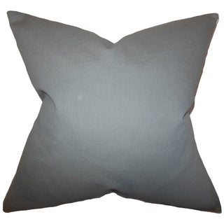 Kalindi Solid Grey Feather Filled 18-inch Throw Pillow