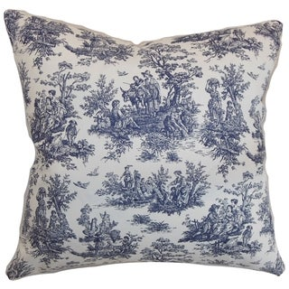 Lalibela Toile Blue Feather Filled 18-inch Throw Pillow