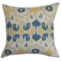 Querida Ikat Denim Natural Feather Filled 18-inch Throw Pillow