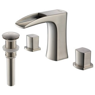 Rivuss Carrion Lead-Free Solid Brass Widespread Bathroom Faucet Brushed Nickel Finish with Pop-Up Drain