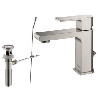 Rivuss Danube Lead-Free Solid Brass Single-Lever Bathroom Faucet Brushed Nickel Finish with Pull-Out Drain