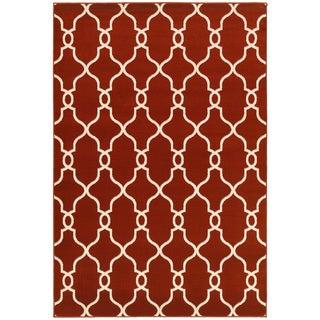 LNR Home Adana Orange/ Cream Geometric Area Rug (7'9 x 9'9)