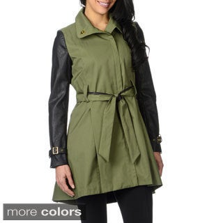 Steve Madden Women's Faux Leather Sleeve Trench Coat