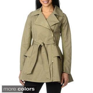 Steve Madden Women's Knit Asymmetric Zip Trench Coat