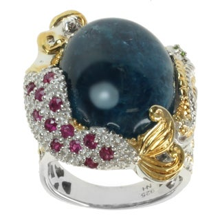 "Michael Valitutti Two-tone Apatite, Chrome Diopside and Ruby ""Mermaid and Seahorse"" Ring"