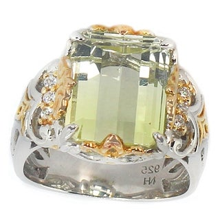 Michael Valitutti Two-tone Citrine and Cubic Zirconia Ring