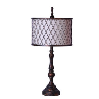 Somette Industrial Chic Table Lamp Bronze Finish with Metal Mesh Shade and Fabric Liner
