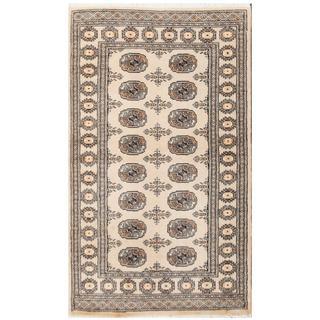 Herat Oriental Pakistani Hand-knotted Tribal Bokhara Tan/ Black Wool Rug (3'1 x 5'2)