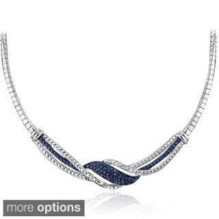 DB Designs Silvertone 1/4ct TDW Black/ Blue and White Diamond Twist Frontal Necklace (I-J, I2-I3)
