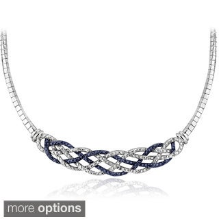 DB Designs Silvertone 1/4ct TDW Black or Blue and White Diamond Weave Frontal Necklace (I-J, I2-I3)