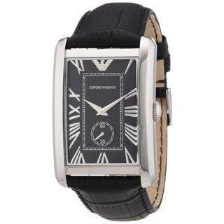 Armani Men's AR1604 Classic Black Leather Rectangular Watch