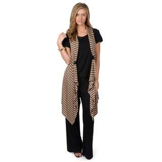 Journee Collection Women's 3-pc Short-sleeve Pant Set w/ Vest