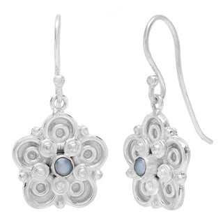 Sitara Silverplated 1 mm Pearl Scroll-work Dangle Earrings (India)
