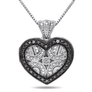 Haylee Jewels Sterling Silver Black Diamond Accent Heart Locket Necklace