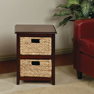 Basket Table Storage Unit w/ Dual Braided Removable Straw-Grass Bins