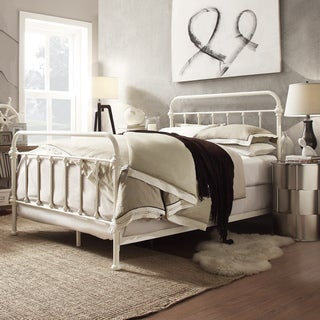 INSPIRE Q Giselle Antique White Graceful Lines Victorian Iron Metal King-Sized Bed