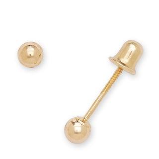 14k Yellow Gold 3 mm Ball Screw-back Stud Earrings