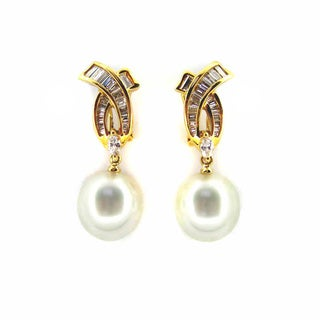 Kabella Luxe Vintage 18k Gold 1 1/6ct TDW Diamond 'X' South Sea Pearl Dangle Estate Earring (H-I, I1-I2) (12-13 mm)
